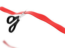 3d Red ribbon cutting ceremony. 3d illustration. Close up of red ribbon cutting ceremony. Isolated white background Stock Photography