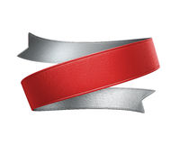 3d red ribbon tag, design element. 3d red silver double sided festive ribbon tag, isolated object Royalty Free Stock Photo