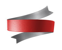 3d red ribbon tag, design element. 3d red silver double sided festive ribbon tag, isolated object Royalty Free Stock Photography