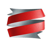 3d red ribbon tag, design element. 3d red silver double sided festive ribbon tag, isolated object Royalty Free Stock Image
