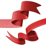 3d red ribbon tag set, design element Stock Photo