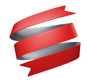 3d red ribbon tag. 3d red silver double sided festive ribbon tag, isolated object Royalty Free Stock Images