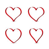 3D red ribbons in the shape of heart. Royalty Free Stock Photography