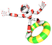 3d Red robot character surfing on lifebuoy. Create 3D Humanoid R Stock Photography
