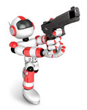 3D Red Robot fire an aimed shot a automatic pistol. Create 3D Hu Stock Photos