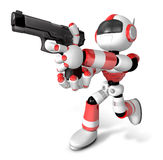 3D Red Robot fire an aimed shot a automatic pistol Royalty Free Stock Images
