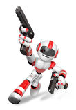 3D Red Robot Mascot holding a Automatic pistol with both hands. Stock Photo