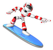 3D Red robot is riding a surf board to the Right. Create 3D Huma Royalty Free Stock Image