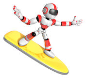 3D Red robot is riding a surf board to the Right. Create 3D Huma Stock Photos