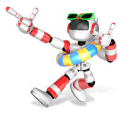 3d red robot set out on a summer vacation. Create 3D Humanoid Ro Royalty Free Stock Image