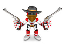 The 3D Red Robot villain holding a revolver gun with both hands. Stock Photography