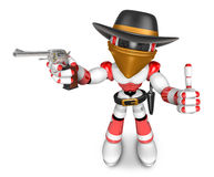 3D Red Robot villain the right hand best gesture and left hand i Stock Images