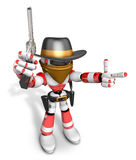 3D Red Robot villain the right hand guides and the left hand is Royalty Free Stock Image