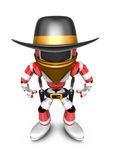 3D Red Robot villain is taking pose a gunfight. Create 3D Humano Royalty Free Stock Photo