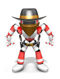3D Red Robot villain is taking pose a gunfight. Create 3D Humano Stock Photography
