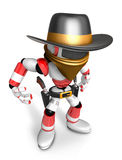 3D Red Robot villain is taking pose a gunfight Stock Photo