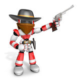 3D Red Robot villain is taking pose a gunfight Stock Images