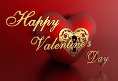 3D Red Romantic Valentine Heart Background with happy valentine`s day text Royalty Free Stock Photos