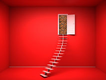 3d red room with opened door. Brick wall Stock Photography
