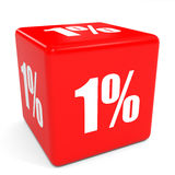 3D red sale cube. 1 percent. Stock Photo