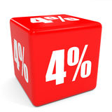 3D red sale cube. 4 percent discount. Royalty Free Stock Photography