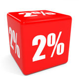 3D red sale cube. 2 percent discount. Stock Photo