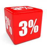 3D red sale cube. 3 percent discount. Royalty Free Stock Photo