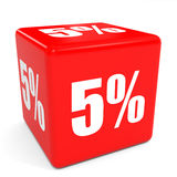 3D red sale cube. 5 percent discount. Stock Images