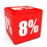 3D red sale cube. 8 percent discount. Royalty Free Stock Photo