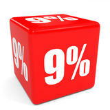 3D red sale cube. 9 percent discount. Royalty Free Stock Images