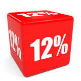 3D red sale cube. 12 percent discount. Royalty Free Stock Photography