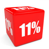 3D red sale cube. 11 percent discount. Illustation Royalty Free Stock Photos