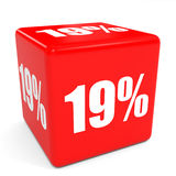 3D red sale cube. 19 percent discount. Royalty Free Stock Image