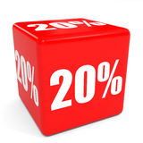 3D red sale cube. 20 percent discount. Illustation Stock Images
