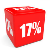 3D red sale cube. 17 percent discount. Illustation Royalty Free Stock Photos