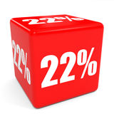 3D red sale cube. 22 percent discount. Royalty Free Stock Images