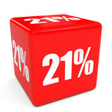 3D red sale cube. 21 percent discount. Royalty Free Stock Image