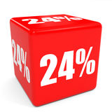 3D red sale cube. 24 percent discount. Royalty Free Stock Photo