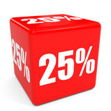 3D red sale cube. 25 percent discount. Royalty Free Stock Images