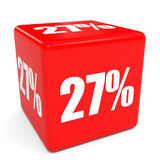 3D red sale cube. 27 percent discount. Stock Photo