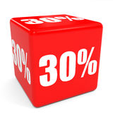 3D red sale cube. 30 percent discount. Stock Photo