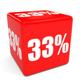 3D red sale cube. 33 percent discount. Illustation Stock Photography