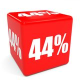 3D red sale cube. 44 percent discount. Stock Photos