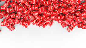3d red sale cubes background stock photography