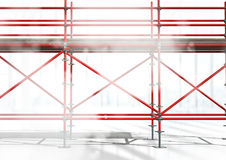 3D red scaffolding on a building. Digital composite of 3D red scaffolding on a building Stock Image