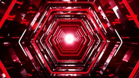 3D Red Sci-Fi Hexagon Tunnel VJ Loop Background. 3D Red Sci-Fi Hexagon Tunnel VJ Loop Motion Background stock video