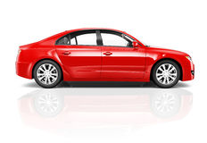 3D Red Sedan Car on White Background Stock Photo