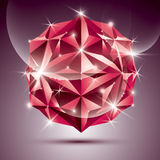 3D red shiny disco ball. Vector fractal dazzling abstract illust Stock Photo