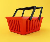 3d Red shopping basket. 3d renderer illustration. Red shopping basket. sale concept on yellow background Stock Photo