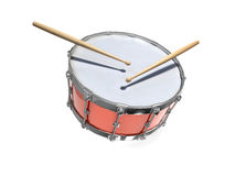 3d Red snare drum and sticks Stock Photo